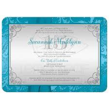 Flat Invitation Cards Quinceañera Photo Birthday Invitation Turquoise Silver Damask