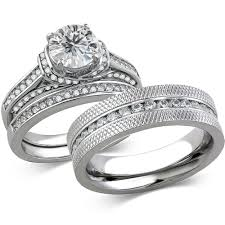 wedding rings steel images St1919 arcjss485 his hers stainless steel 3 piece cz wedding jpg