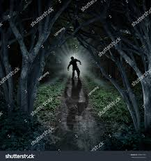 halloween haunted woods horror monster walking dark forest scary stock illustration
