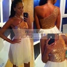 under 100 fashion one shoulder gold sequined white chiffon short