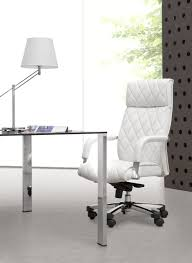 Modern White Office Table Furniture Luxurious White Leather Swivel Chair With Minimalist