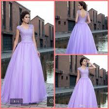 2017 new design lavender ball gown short sleeve modest evening