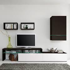 Led Beleuchtung Wohnzimmerschrank Wohnwand Colourart 4 Teilig Schwarz Weiß Mit Led Beleuchtung