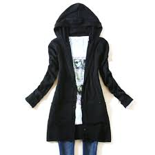womens black cardigan sweater autumn sleeve knitted outerwear medium hooded