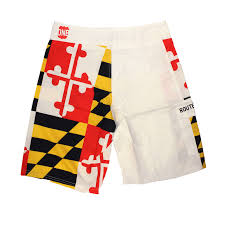 Mens Flag Shorts White Maryland Flag Board Shorts U2013 Route One Apparel