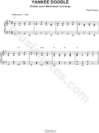 yankee doodle club traditional yankee doodle sheet piano in g major