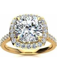 2 carat halo engagement ring savings 18k yellow gold 4 1 2 carat cushion cut
