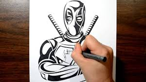 how to draw deadpool tribal tattoo design style youtube