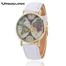 World Map Watch Vansvar Brand Fashion World Map Watch Casual Women Quartz Watch
