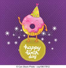 vector clip art of happy birthday card background with cute donut