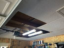 garage ceiling overhaul drywall plywood