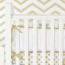 white pique with gold piping crib bumper by caden lane