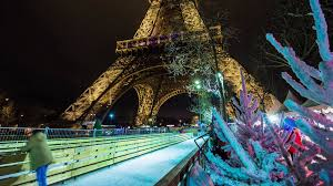 eiffel tower christmas lights paris famous eiffel tower night twilight park ice rink panorama 4k