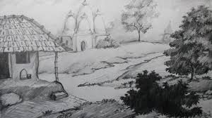 pencil scenery sketches how to draw a village scenery with pencil