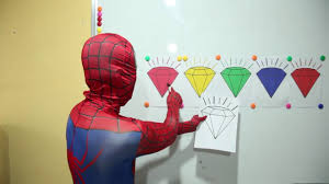 elsa learn color diamond spiderman paint guava police