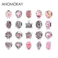 pandora beaded bracelet images 2pcs lot pink charms fit pandora bead bracelet flower crown heart jpg