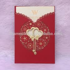 Marriage Invitation Card Design Laser Cut Double Heart Design Chinese Wedding Invitation Card