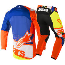 fxr motocross gear 2018 alpinestars techstar factory gear kit orange blue white