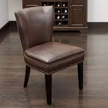 Leather And Wood Chair Jackie Leather Accent Dining Chair Wood Brown Christopher Knight