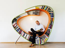 graceful modern bookcase library design with round shape standing