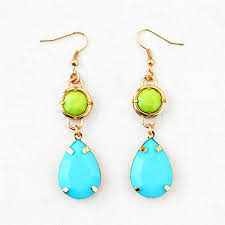 sparkly green earrings dangle drop earrings lime green earrings with aqua blue droplets