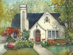 Residential Ink Home Design Drafting by House Painting In Watercolor With Ink Details Custom Portrait