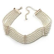 choker necklace pearls images 6 strand faux pearl bridal diamante choker necklace silver plated jpg