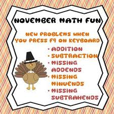 november thanksgiving addition subtraction facts worksheets or