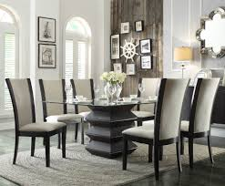 homelegance havre 7 piece glass top dining room set w beige availability in stock pieces included in this set