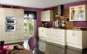 white cabinets and purple wall paint color combination for modern