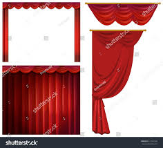 red curtains different styles illustration stock vector 611967260