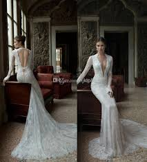 wedding dress lace back and sleeves v neck lace backless mermaid berta bridal sleeve