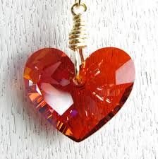 swarovski crystal chain necklace images Heart necklace valentine jewelry 14kt gold filled red heart jpg