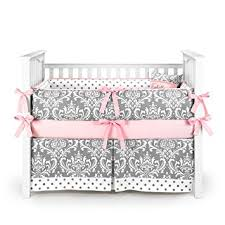 amazon com damask polkadot gray u0026 pink baby bedding 5pc crib