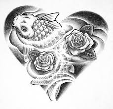 black ink koi fish with roses tattoo design