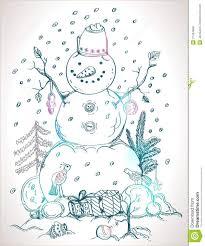 christmas card for xmas design hand drawn snowman royalty free