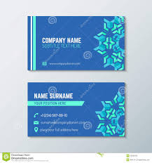 Business Cards Front And Back Blue Green Abstract Business Card Template Stock Vector Image