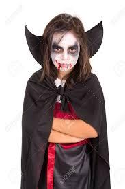 Girls Halloween Vampire Costume Face Paint Halloween Vampire Costume Isolated