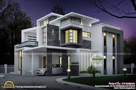 Side Elevation View Grand Contemporary Home Design Night View