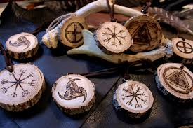 woodburned nordic viking symbol ornaments by kfnight fire23 on