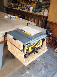 dewalt table saw dust collection dewalt table saw mounted to paulk workbench woodworking talk
