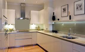 Cheap Kitchen Splashback Ideas View Into U Shaped Kitchen With Handle Less Magnolia High Gloss