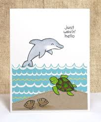 hello card all occasion card themed dolphins by doodleshop