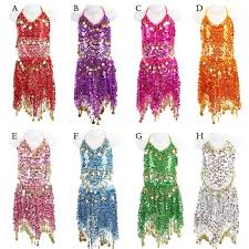 girls halloween tops girls kids belly dance costume sparkly circle sequin coins top