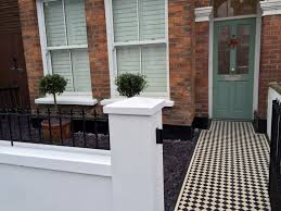 victorian front gardenpany walls rails black and white mosaic tile