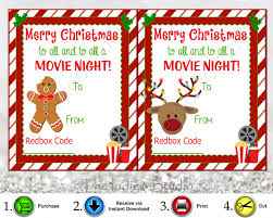 redbox codes gift tags 4 different designs cards digital