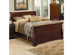 coaster versailles king sleigh bed with deep mahogany stain del