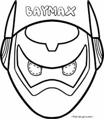 printable big hero 6 baymax armor mask coloring pages cut