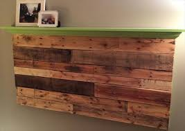 Wall Mounted Headboard Diy Pallet Floating Headboard With Decorative Mantle Pallet