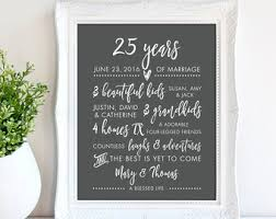 25th wedding anniversary gift silver anniversary etsy